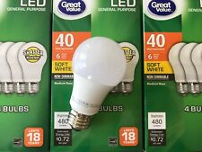 12 Pack LED 40W = 6W Soft White 40 Watt Equivalent A19 2700K E26 light bulb