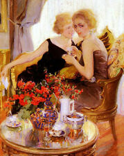 Oil painting Francisco Pons Arnau Secrets May I have a word in your ear - girls