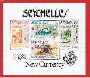 Seychelles #451a  MNH OG  Souvenir  Sheet of 4 New Currency  Free S/H
