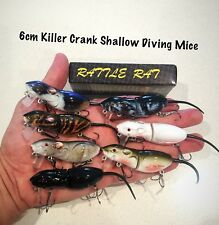 New 6cm Killer Crank Rattle Mouse/Rat (7 Pack) Surface Cod/Bass Fishing Lure