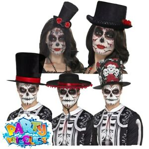 Day of the Dead Hats Halloween Skeleton Mexican Mens Ladies Fancy Dress Womens