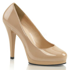 """Pleaser Flair-480 Womens Shoes Size 7 Nude Patent Court Platform 4.5"""" High Heels"""