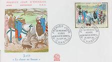 ENVELOPPE PREMIER JOUR - 9 x 16,5 cm - ANNEE 1965 - LA CHASSE AU FAUCON