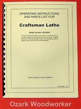 "CRAFTSMAN-Dunlap 6"" Metal Lathe 109.20630 Instructions & Parts Manual 0192"