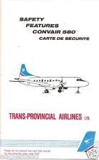 Safety Card - Trans Provincial - CV580 Convair 580 No LV Aft Lav (Canada)(S3457)