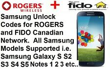 Unlock Code Rogers Fido All Samsung Model Galaxy S3 S4 S5 S6 S7 S8 Note 2 3 4 5