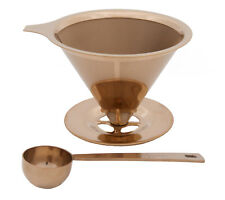 Stainless Steel Titanium Coated Pour Over Coffee Dripper/Scoop set BRONZE