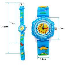 US Waterproof Cartoon Kids Children Silicone Wrist Watch Boy Girls Xmas+Gift Box