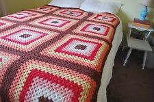 """Crochet Granny Square Afghan Blanket Hand Knit Throw Blanket 82""""x63"""" Queen"""
