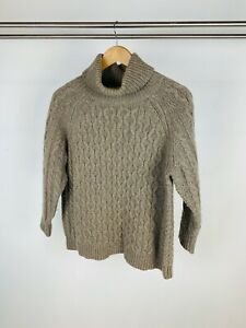 Toast Beige Oatmeal Brown Cable Knit Wool Roll High Neck Relaxed Jumper UK 10