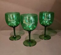 Set Of 3 Emerald Green Smooth Stem Wine Glasses EXCELLENT
