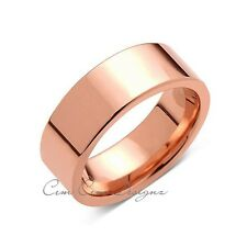 Rose Gold Tungsten Wedding Band - Rose Gold High Polish Tungsten Ring - 8mm - Pi