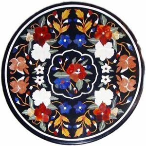"""24"""" Black Marble Table Top Semi Precious Stones Pietradura Inlay Work"""