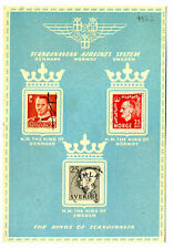 1953 SAS Scandinavian Airlines The Kings of Scandinavia LOGO Postcard w Stamps