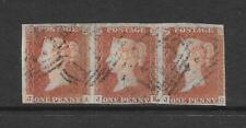 GB VICTORIA #8 1d 1841 PENNY RED IMPERFORATE STRIP OF 3 JA JB JC VFU CV £100+