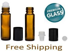 Essential Oil Amber Glass Roll on Roller Bottles 10ml Empty LOT SET Refillable