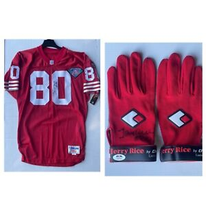 San Francisco 49ers HOF Jerry Rice 1994 Autographed Jersey & Gloves