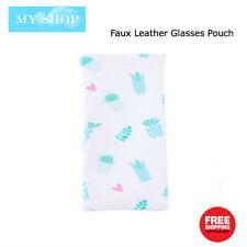 Faux Leather Sunglass Eyeglass Glasses Case Soft Pouch Snap Shut - Little Plants