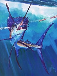 Marlin Catch, Original Acrylic Painting on Canvas, Guy Harvey