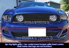 For 2013-2014 Ford Mustang GT Bumper & Fog Cover Black Billet Grill Combo