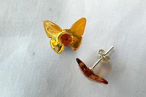 Amber, Beautiful 14mm Butterfly Beads, Stud Earrings, Sterling Silver Fitting