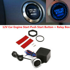12V Car Engine Starter Keyless Entry Push Button Lgnition Switch Blue LED Light