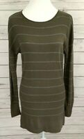 Caslon Tunic Thermal Top Womens Small S Green Striped Long Sleeve Knit Stretch