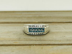 Sterling Silver .90cttw White & Teal Blue Genuine Round Diamond Ring Size 14