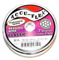 WC158 Silver Accu-Flex Classic .012-Inch 7-Strand Beading Wire 30' Spool