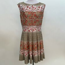 Julian Taylor New York Womens Dress Size 14 Red White Beige Floral Pleated