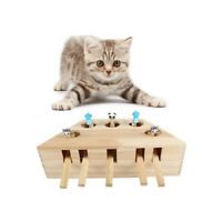 Pet Indoor Solid Wooden Cat Hunt Toy Interactive 3/5-holed Mouse Seat Scratch