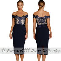 Sexy Blue Floral Lace Off Shoulder Slim Midi Dress Formal Office Work Party Wear