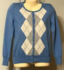 Talbots Ladies Cardigan Sweater Size Small Argyle Italian Merino Wool Blue Multi