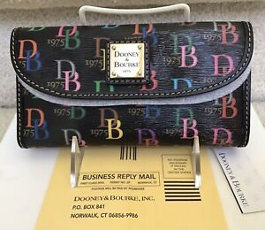 "Dooney & Bourke ""DB75"" Multi Continental Clutch in BLACK / MULTICOLOR"