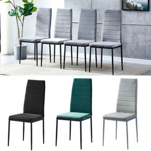 2/4/6 Dining Chairs Side Chairs High Back Velvet/Faux Leather Padded Seat Home