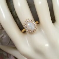 Vintage Jewellery Gold Ring with Opal and White Sapphires Antique Jewelry sz N