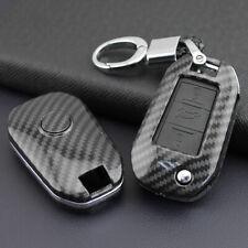 FOR Peugeot/Citroen Hard Shell Flip Key Fob Chain Carbon Fiber Protector Cover