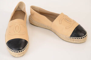 Chanel nude beige 6 36 leather round cap toe logo slip on espadrille shoe $725
