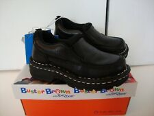 Buster Brown Black Leather Slip on Oxford Loafer Dress Shoes Toddler Boy 7.5 NIB