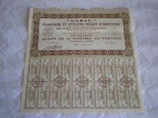 Vintage share certificate Stocks Bonds Caric Chantiers ateliers réunis indochine