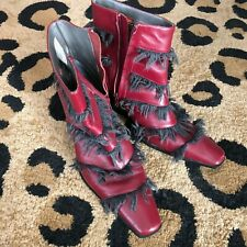 Epic Cool Diesel Red fringed ankle boots rocker