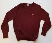 Vintage Izod Lacoste Maroon Mens V Neck Pullover Sweater Soft Orlon Sz M