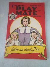 1949 Children's Playmate Play Mate November Magazine Paper Dolls Thanksgiving