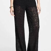 Free People Lace Wide Leg Pants Black Velvet Size 6 UK10 NWT $168