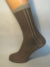 Striped patterned Nylon/Polyester socks. Retro/vintage style. LIGHT BEIGE/BROWN