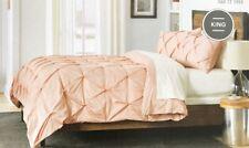 Threshold Pinch Pleat King Duvet Cover 3 piece Set Blush Pink Metal 100% Cotton