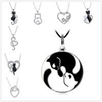 Women Crystal Silver Plated Aniamal Cat Heart Shaped Charm Pendant Necklaces New
