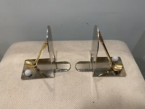 Stainless Steel Book Holder Brass Clubs With Ball Rare Pre Owned Pair
