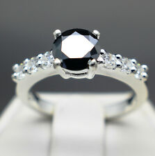 .70 to 1.30cts Real Natural Black Diamond Engagement Ring AAA Grade $850 Value+