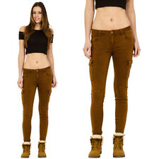 Cotton Blend Regular Size Low Rise Trousers for Women